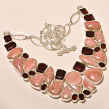 114 Gm Natural Rhodochrosite Cab,Garnet Cut Silver Overlay Necklace SB-501