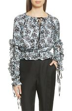 Robert Rodriguez Silk Ruffle Blouse Blue Orchid- Size L- Worn Once PERFECT $325