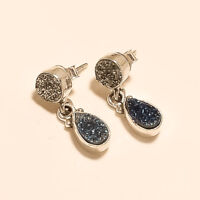 Natural White Titanium Druzy Drop Earrings 925 Sterling Silver Handmade Jewelry