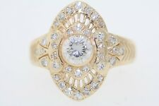 Antique Art Deco 14k Yellow Gold .90ct Bezel Set Round Diamond Ring (G, SI1)