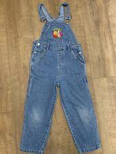 Disney Kids Winnie Pooh Tigger Retro Vintage Blue Denim Dungarees Overalls Age 8