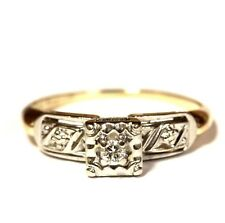 diamond solitaire vintage engagement ring 2.2g 14k yellow gold .05ct Vs G round