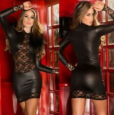 NEW Women Leather Sexy Leopard Bodycon Lace Hot Latex Club wear Party Mini Dress