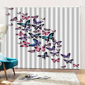 Fly Fly Butterfly 3D Curtain Blockout Photo Printing Curtains Drape Fabric