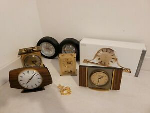 JOB LOT OF 8 CLOCKS bertina acctim carriage alarm metamec