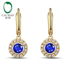 Unplated 14K Gold Natural 0.89ct Sapphires and 0.28ct Natural Diamonds Earrings