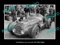 OLD LARGE HISTORIC PHOTO OF NARDI DANESE RACE CAR 1952 MILLE MIGLIA