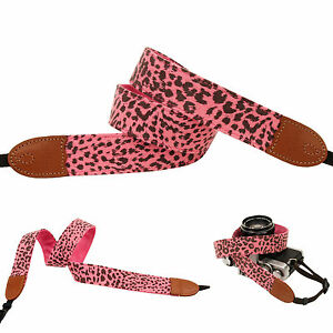 Pink color lynx print Fashion Camera Neck Shoulder Strap for Film SLR DSLR RF