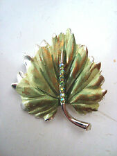 VINTAGE B.S.K. Silvertone Leaf Pin, Green, Gold with Stones