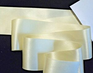 """1-1/2"""" WIDE DOUBLE FACE SILK SATIN RIBBON - IVORY - # 73"""