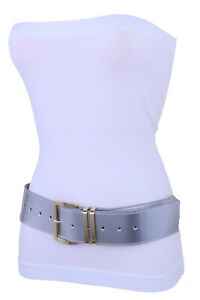 Women Shiny Silver Faux Patent Leather Hip Waist Fashion Belt Gold Buckle M L XL