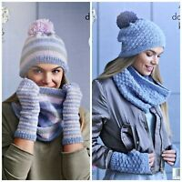 KNITTING PATTERN Ladies Easy Knit Cowl Hat & Fingerless Gloves DK King Cole 4869