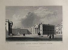 TRINITY COLLEGE, DUBLIN, IRELAND Antique Art Print 1840 Steel Engraving