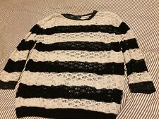 George Black And White Striped Hooped Knitted Jumper Size 12
