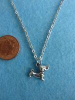 "Tibetan Silver Sausage Dog Charm Pendant Necklace 18"" Dachshund Gift  #118"