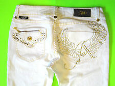AKADEMIKS {Size 28 in.} White Stretch Bootcut Gold/Silver Stud Design EXCELLENT!