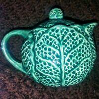 Vintage 1960s Majolica Cabbage Teapot