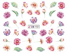 Nail Art Decals Transfers Stickers Pink Purple Flowers (BN931)