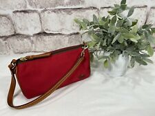 Dooney & Bourke Small Nylon & Leather Barrel Bag Handbag / Red And Brown