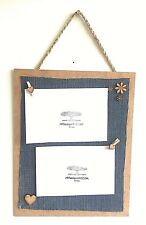 Double 2 in 1 Photo Picture Frame Holder Pegs Hearts Flowers Funky Retro Fun