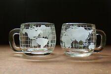 Set of 2 vintage NESTLÉ NESCAFÉ glass globe shaped mugs, very nice - each 8 oz