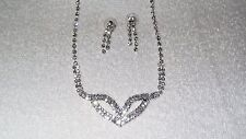 Clear Crystals Mask Design Necklace Earrings Set Jewelry Pendant Wedding