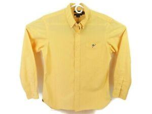Ralph Lauren Rugby Mens Medium Long Sleeve Button Down Shirt Cotton Check Orange