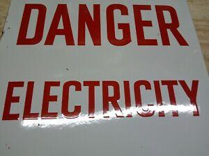 Vintage Enamel British  metal danger Electricity warning sign British Army