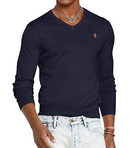 Ralph Lauren Jumper BNWT size 1XB Mens Big & Tall Navy Blue V Neck Pima Cotton