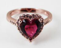 ROSE GOLD PLATED RING WITH RED HEART CUT CUBIC ZIRCONIA AND CLEAR ACCENTS