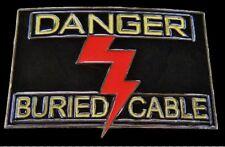 DANGER BURIED CABLE LIGHTNING ROD METAL BELT BUCKLES BELTS BUCKLE