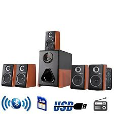 5.1 CHANNEL BeFree HOME THEATER SURROUND SOUND SPEAKER SYSTEM WOOD FINISH USB