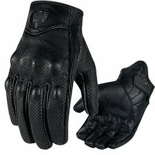 Mens Summer Leather Touch Screen Motorcycle Motorbike Gloves Perforated Biker L S