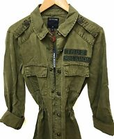 TRUE RELIGION US Women's Military Trench Parka Jackets Outwear Olive Green