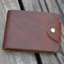 Durable Mens Bifold Wallet Genuine Cowhide Leather Handmade with Clip Fast Post