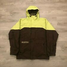 Burton Mens Snowboard Ski Jacket Brown/Lime Insulated Hooded Spell Out Size M