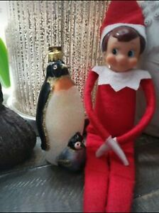 1995 Elf On The Shelf Doll And Glass Penguin Ornament
