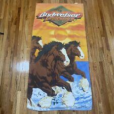 Vintage 90s 1999 Budweiser Clydesdale running on beach towel Anheuser-Busch