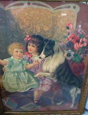 """Antique Framed Print Victorian Children & Dog 20.5""""by 15 7/8"""" ,Girls"""