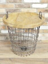 Solid Heavy Wooden Tray Topped Metal Storage Basket Side Table Industrial Urban