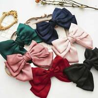 Sweet Girls Hair Clip Hairpin Silk Big Bow Barrettes Women Hair Accessory AU