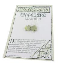 Irish Shamrock Earrings Sterling Silver Hooks Connemara Marble Green CE4