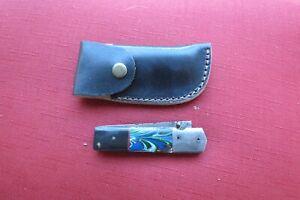 Big Damascus folder with horn & ceramic handles  & leather sheath hand made
