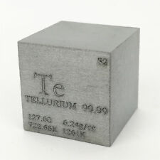 1 inch 25.4mm Sintered Tellurium Metal Cube 99.99%  90g Engraved Periodic Table