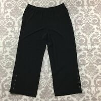 Chico's Womens Pants size Medium Black Travelers Pull On Elastic Waist Stretch