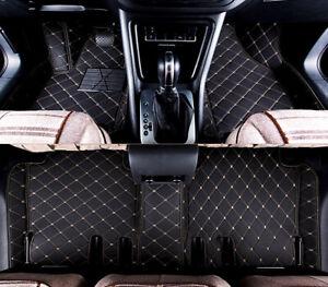 Fußmatten Passend Für Tesla Model X 6 Sitzer Leder Schwarz Faden Beige