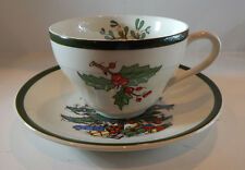 CUTHBERTSON CHRISTMAS HOLLY CUP & TREE SAUCER SET THICK GREEN BAND MADE ENGLAND