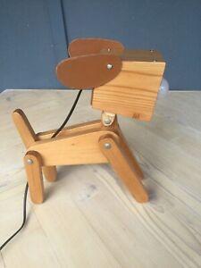 LAMP - DESK/BEDSIDE - WOODEN DOG - BEAUTIFULLY HANDCRAFTED TAMBORINE MOUNTAIN