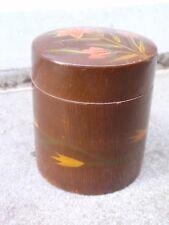 VINTAGE BROWN LAQUER WOOD CHINESE JAPANESE FLOWER DECORATION DESK TRINKET BOX