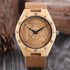 Casual Fire Fighter Design Wooden Men Boy Quartz Wrist Watch Genuine Leather